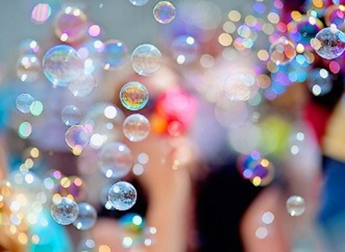 with an open heart bubbles