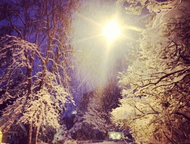 Snowfall at night. with an open heart blog